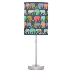 baby elephants and flamingos desk lamp