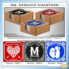 Ceramic Coasters Set of 4 Square Makes a Great by AvidImagination