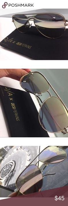 Quay Australia x Desi Perkins High Key Sunglasses New. In chrome rose gold (reflective) lens and yellow gold frame. Went with the hype so I bought it but never used it! Can't return it due to their policy but I believe my cute little pair of sunglasses will make someone happy. Protective pouch included. The company never puts tags when they shipped it, sorry! Price negotiable! Send me your offer! Sold out on website. Quay Australia Accessories Sunglasses