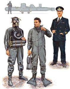 """Regia Marina - 10ma Flottiglia MAS, 1941-42 - • Conducente di """"Maiale"""", 1941  • Uomo Rana, Gruppo Gamma, 1942  • Tenente di vascello, uniforme di servizio, 1940"""