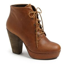 "Steve Madden 'Raspy' Platform Bootie, 3 3/4"" heel featuring polyvore, fashion, shoes, boots, ankle booties, heels, zapatos, cognac, leather boots, chunky heel boots, lace up platform bootie, lace up ankle boots and chunky heel booties"