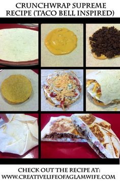 HEALTHY and EASY Homemade Crunchwrap Supreme Recipe – Taco Bell Inspired (Healthy and Easy and Fast!) Allison's fav thing at Taco Bell I Love Food, Good Food, Yummy Food, Mexican Dishes, Mexican Food Recipes, Mexican Appetizers, Taco Bell Recipes, Homemade Crunchwrap Supreme, Food To Make