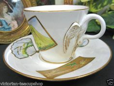 1875 Bodley Hobson Bird Handle Cup and Saucer