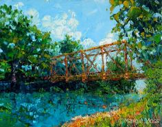 """Colonel Myers Bridge, by Margie Moss Paul Bennett, Siloam Springs, Salon Art, Exhibit, Impressionism, Illinois, Salons, Bridge, River"