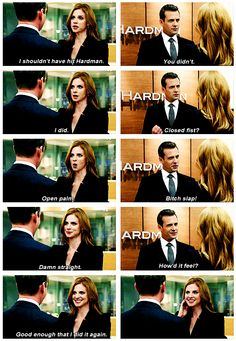 -Bitch slap! -Damn straight. Oh, Donna. #suits