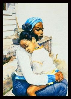 Black Art African American Mother and Child