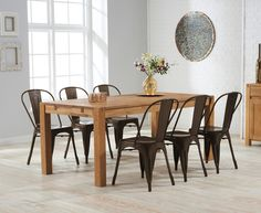 Verona 180cm Solid Oak Dining Table with Xavier Tolix Industrial Style Metal Chairs