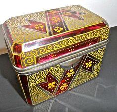 Antique Hinged Moser Glass Box Cranberry Glass w Enamel Ribbon Pattern | eBay