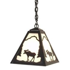 Steel Partners Moose 1 Light Outdoor Pendant Finish: Mountain Brown, Shade Type: Bungalow Green