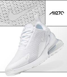Clean all white Nike Air Max 270 shoe. Super cool Nike trainers for Nike Air Max White, Nike Air Max Mens, Nike Max, All White Sneakers, Air Max Sneakers, Nike Gym Trainers, Cool Nikes, Air Max 270, Dress And Heels