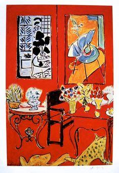 """Henri MATISSE, signed Heliolitho """"Grand intérieur rouge"""" 1953"""
