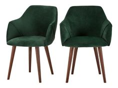 Set of 2 Lule Carver Dining Chairs, Pine Green Velvet and Walnut Small Accent Chairs, Accent Chairs For Living Room, Dining Room, Cane Back Chairs, Side Chairs, Wrought Iron Patio Chairs, Scandinavian Furniture, Scandinavian Style, Upholstered Dining Chairs