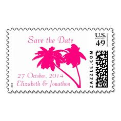 Pink Palm Tree Tropical Save the Date custom US Postage Stamp