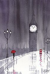 Art: Rainy Day London~Crossing Westminster by Artist KJ Carr