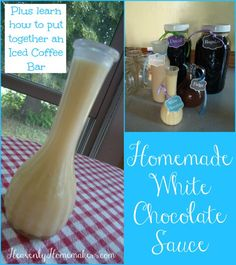 Homemade White Chocolate Sauce for Iced Coffee and Ice Cream Never be tricked into thinking that making homemade food is hard. Here's an easy real food White Chocolate Sauce recipe. White Chocolate Syrup, Chocolate Syrup Recipes, Homemade Chocolate Sauce, Homemade Hot Fudge, Chocolate Fudge Sauce, Homemade Food, Chocolate Chocolate, White Chocolate Sauce Recipe For Coffee, Caramel Recipes