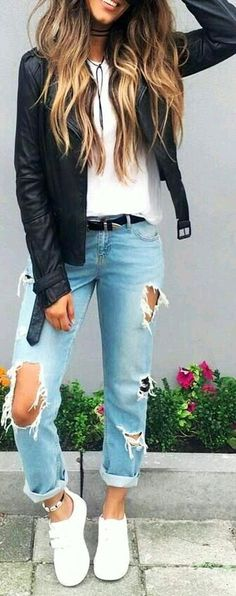 #winter #outfits blue ripped jeans