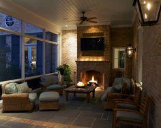 Screen porch design - vaulted ceiling, brick walls, bluestone