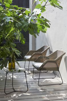 Outdoor lounge chair MOOD collection by Manutti. Wicker. Garden. Terrace. Greens. Patio.