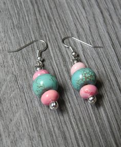 Pink and Turquoise Stone Bead Dangle Earrings - Pink and Blue Earrings - Hippie Earrings - Boho Jewelry - Gypsy Jewelry - Tribal Earrings by KayBejeweled on Etsy