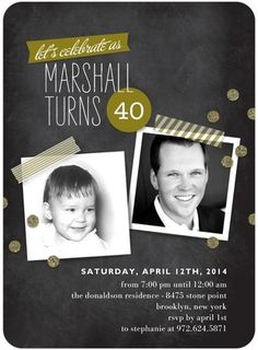 40th Birthday Party Invitation from Tiny Prints with washi tape and chalkboard designs with a little dash of glitter.