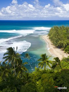 Kee Beach from Kalalau trail in Kauai, #Hawaii