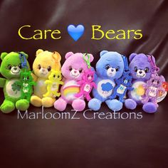 My Rainbow Loom Care Bears attached to plush carebears that I found at Petsmart - Care Bear Tutorial on MarloomZ Creations YouTube channel.