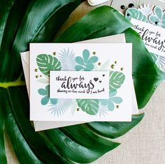 Simple tropical foliage card using Simon Says Stamp Tropical Leaves and Loving Heart stamps.