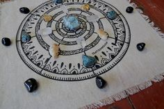 """Linen Cloth Crystal Grid Altar clothSacred Geometry Fibonacci Sequence Spiral Crystal Grid Altar Cloth15"""" x 15""""Hand PrintedCRYSTALS NOT INCLUDED Wiccan Rede, Altar Cloth, Magic Circle, Minerals And Gemstones, Printed Linen, Stone Work, Crystal Grid, Chiffon, Sacred Geometry"""