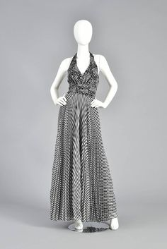 1970s Black & White Graphic Op Art  Floral & Striped Gauze Maxi Dress 3