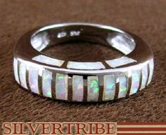 Genuine Sterling Silver And Opal Inlay Jewelry Ring Size 8 DS49234