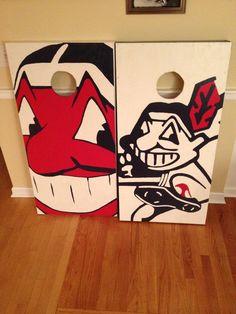 Cleveland Indians Cornhole Boards.  100% Hand Painted! Danscustomgames.com