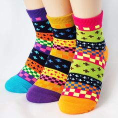 FLUORESCENCE COLORFUL SOCKS 3PAIRS=1PACK Made in KOREA women woman girl big kids #COLORMIX #allStyle