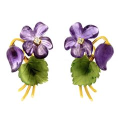 1950s Jade Amethyst Diamond Gold Flower Earrings                                                                                                                                                                                 More