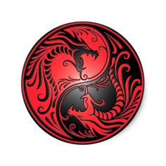 Sticker Rond Dragons, rouge et noir de Yin Yang