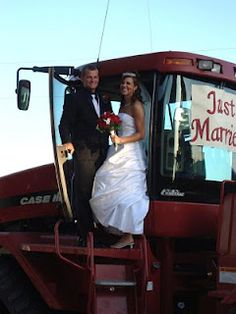 Incorporating Agriculture in to our wedding- our getaway vehicle was a Case IH Quadtrac!