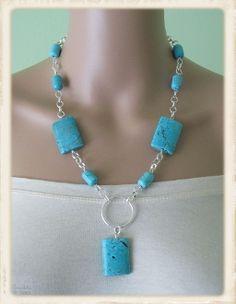Turquoise Howlite Drum Barrel Necklace Wire Wrapped Jewelry, Beaded Jewelry, Jewelry Necklaces, Beaded Necklace, Bracelets, Custom Jewelry, Handmade Jewelry, How To Make Necklaces, Jewellery Storage