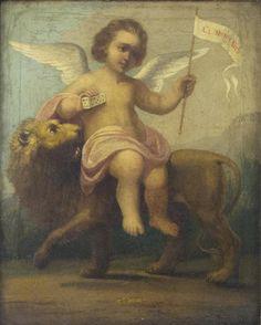 Russland, 19. Jh. Geflügelter Engel auf schreitendem Löwen; Öl/Lwd, 52x42 cm