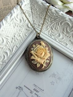 A Large Carved Ivory Rose Flower Cameo Brown Shabby Chic Locket Necklace. For Mom. Statement Necklace. Anniversary Gift. For Girlfriends.