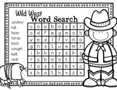 Kids love word searches.  They help students pay attention to letters and letter sequence and to help practice their decoding skills.You can either print on paper for students to use (great for morning work or centers), or place in a pocket protector sheet/laminate and have students use a dry erase marker to circle the words (great for a literacy workstation).I hope you enjoy this cowboy themed freebie!You may also be interested in my Wild West Literacy and Math Centers unit for k-1 :)
