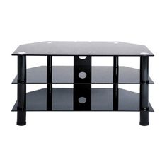 """LEVV Black Glass TV Stand for up to 37"""" TVs"""