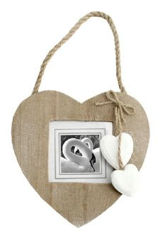 Wooden hanging heart photo frame, very shabby chic, find this and much more at www.orchardlayne.co.uk
