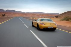 Golden Mercedes Benz SLS AMG HD desktop wallpaper Fullscreen