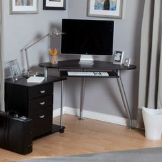 Gray Painted Wall Idea Also Minimalist Small Corner Computer Desk With Metal Leg Design Plus Black File Cabinets And Modern Reading Light