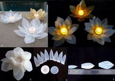 DIY Modular Flower Candle Ornament DIY Modular Flower Candle Ornament by diyforever Plastic Bottle Crafts, Recycle Plastic Bottles, Plastic Containers, Plastic Jugs, Diy Candle Holders, Diy Candles, Candle Centerpieces, Candlestick Holders, Candlesticks