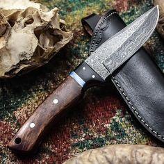 ALONZO KNIVES USA CUSTOM HANDMADE DAMASCUS TACTICAL HUNTING KNIFE ROSE WOOD 288 #AlonzoKnives