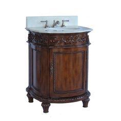 "Chans Oriental Catalina 26"" Antique Single Sink Bathroom Vanity in Brown NL-CF4407W at DiscountBathroomVanities.com"