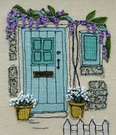 I love making freehand embroidery pictures and this was was inspired by a recent trip to Ruthin in North Wales. The design is sketched first then fabric cut to create the shading and background. I have used high quality cotton fabric by Makower UK for this design in shades to compliment the heritage front door colour and wisteria. The background is a natural linen. The detail is then added using free-motion machine embroidery to draw the picture with stitches. Every brick, door panel and…