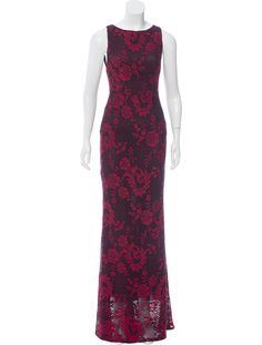 Black and crimson Alice + Olivia sleeveless lace maxi dress with floral pattern throughout, scoop neck and open back with exposed zip closure.