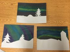 """Northern Lights Night Sky"" Art Project. While studying the phenomenon of the Northern Lights in science, our class created these pictures using Pastels. A super fun, quick and easy way to have students using different mediums in an art piece while connecting it to other learning in the classroom."