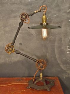 Vintage Industrial Desk Lamp - Machine Age Task Light - Cast Iron - Steampunk